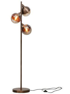 BePureHome Split Vloerlamp 3-Lichts - Hoogte 153 cm - Metaal Brown Brush