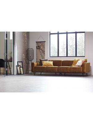 BePureHome Statement Velvet Bank 4-Zits - Breedte 280 cm - Fluweel Honing Geel