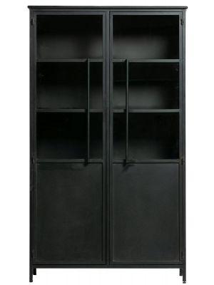 BePureHome Exhibit Vitrinekast - B99 x D44 x H170 cm - Zwart Metaal