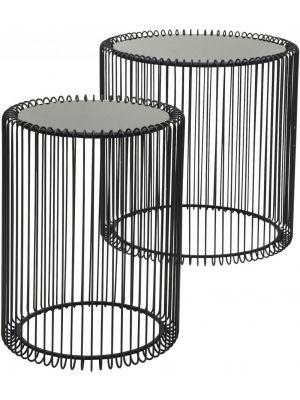 Kare Design - Wire Bijzettafel Hoog - Set van 2 - Zwart Metaal met Glazen Tafelblad