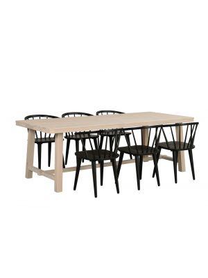 Rowico Brooklyn Verlengbare Eettafel - Massief Whitewash Eiken - L220 x B95 x H75 cm