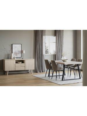 Rowico Brooklyn Verlengbare Eettafel - Whitewash Blad - Metalen U-frame - L170 x B95 x H75 cm