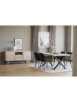 Rowico Brooklyn Verlengbare Eettafel - Whitewash Tafelblad - Metalen X-frame - L170 x B95 x H75 cm