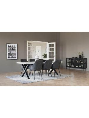 Rowico Brooklyn Verlengbare Eettafel - Whitewash Tafelblad - Metalen X-frame - L220 x B95 x H75 cm