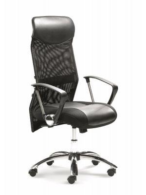 24Designs Bureaustoel Rome - Stof Mesh Zwart/Kunstleer - Chromen Kruispoot