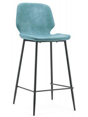 BY-BOO Seashell Barkruk Zithoogte 65 cm - Set van 2 - Blauw Kunstleer - Zwart Metalen Poten