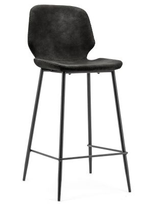 BY-BOO Seashell Barkruk Zithoogte 65 cm - Set van 2 - Zwart Kunstleer - Zwart Metalen Poten