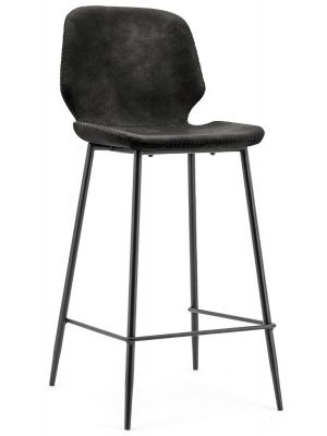 BY-BOO Seashell Barkruk Zithoogte 75 cm - Set van 2 - Zwart Kunstleer - Zwart Metalen Poten