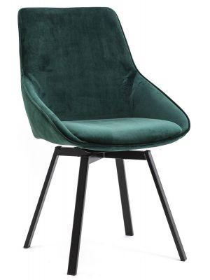 By-Boo Beau Draaibare Stoel - Set van 2 - Fluweel Groen - Zwart Metalen Poten