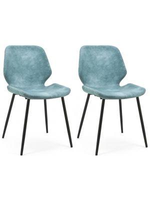 BY-BOO Seashell Stoel - Set van 2 - Blauw Kunstleer - Zwart Metalen Poten