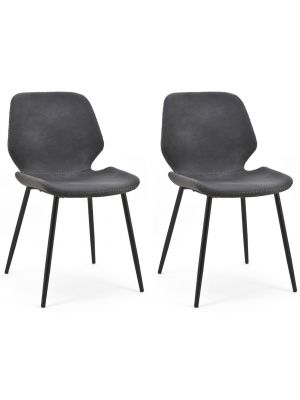 BY-BOO Seashell Stoel - Set van 2 - Zwart Kunstleer - Zwart Metalen Poten