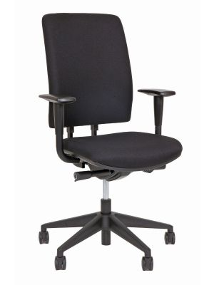 24Designs Bristol Economy Bureaustoel EN1335 - Stof Zwart - Zwart Onderstel