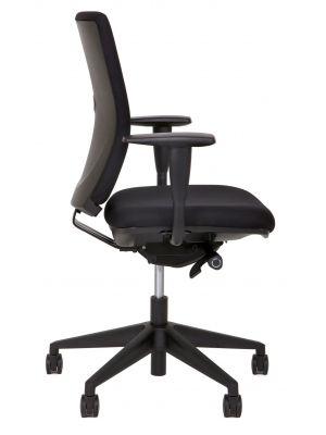 24Designs Seaton Economy Bureaustoel EN1335 - Stof Zwart - Zwart Onderstel