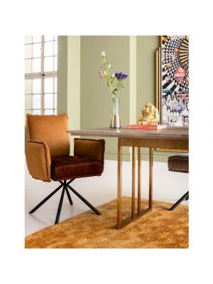 Kare Design Chelsea Velvet Stoel - Set van 2 - Bruin Fluweel