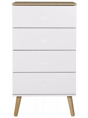 Tenzo Dot Ladekast 4-Laden - B55 x D43 x H98 cm - Wit met Eiken Poten