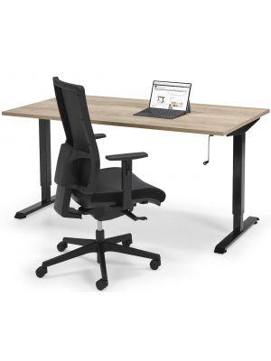 Complete ThuisWerkplek aanbieding - Verstelbaar Zit Sta bureau Flex + Bureaustoel Mesh Black