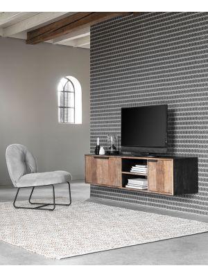 24Designs Cosmo NO.1 Medium Hangend TV-Meubel - B165 x D40 x H40 cm - Teakhout
