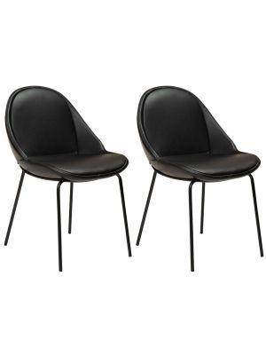 Dan-Form Arch Eetkamerstoel – Set van 2 – Zwart Kunstleer – Zwart Metalen Poten