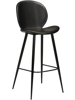Dan-Form Cloud Barkruk - Set van 2 - Zithoogte 75 cm - Zwart Kunstleer - Zwart Metalen Poten