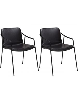 Dan-Form Boto Eetkamerstoel – Set van 2 – Zwart Kunstleer – Zwart Metalen Poten