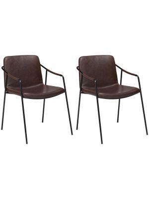 Dan-Form Boto Eetkamerstoel – Set van 2 – Bruin Kunstleer – Zwart Metalen Poten