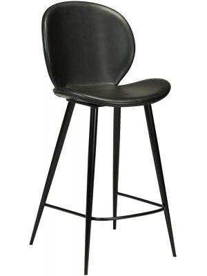 Dan-Form Cloud Counter Barkruk - Set van 2 - Zithoogte 65 cm - Kunstleer Zwart - Zwart Metalen Poten