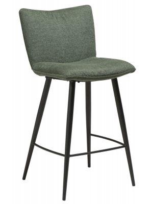 Dan-Form Join Counter Barkruk - Set van 2 - Zithoogte 65 cm - Stof Groen - Zwart Metalen Poten