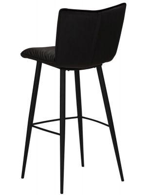 Dan-Form Join Counter Barkruk - Set van 2 - Zithoogte 65 cm - Fluweel Zwart - Zwart Metalen Poten