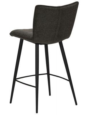 Dan-Form Join Counter Barkruk - Set van 2 - Zithoogte 65 cm - Stof Antraciet Grijs - Zwart Metalen Poten