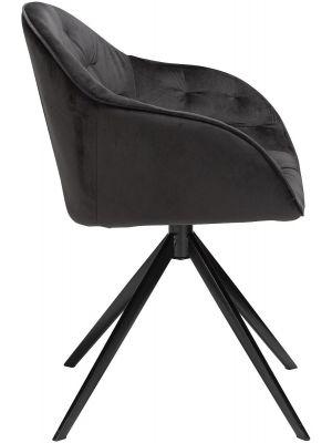 Dan-Form Cray Stoel - Fluweel Zwart - Zwart Metalen Onderstel