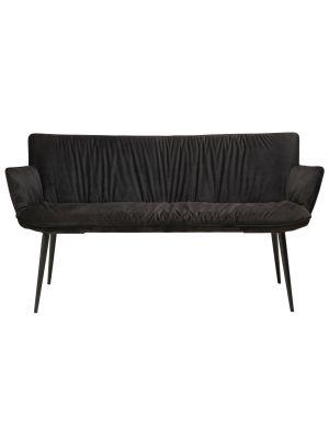 Dan-Form Join Eetbank - B152 cm - Fluweel Zwart - Zwart Metalen Poten