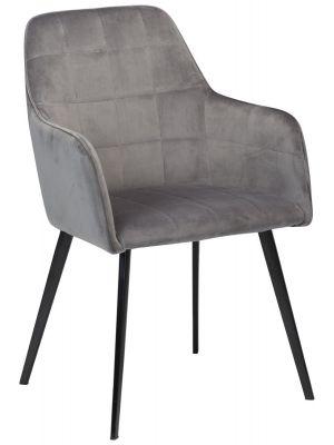 Dan-Form Embrace Stoel Velvet - Zilvergrijs Fluweel - Zwarte Metalen Poten