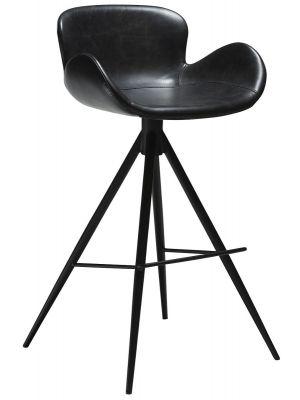 Dan-Form Gaia Barkruk Zithoogte 75 cm - Set van 2 - Zwart Kunstleer - Zwart Onderstel