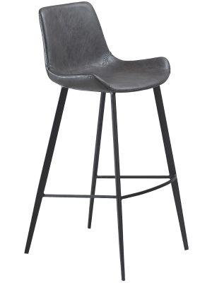 Dan-Form Hype Barkruk - Set van 2 - Zithoogte 75 cm - Grijs Kunstleer - Zwarte Poten