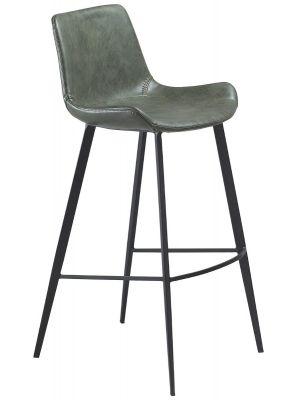 Dan-Form Hype Barkruk - Set van 2 - Zithoogte 75 cm - Groen Kunstleer - Zwarte Poten