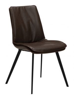 Dan-Form Fierce Stoel - Set van 2 - Chocolade Bruin Kunstleer - Zwart Metalen Poten