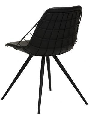Dan-Form Sway Stoel - Set van 2 - Kunstleer Zwart - Zwart Metalen Poten