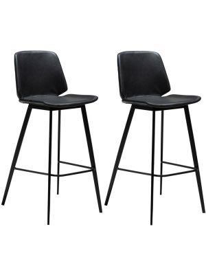 Dan-Form Swing Barkruk – Set van 2 - Zithoogte 75 cm – Zwart Kunstleer