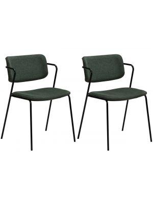 Dan-Form Zed Eetkamerstoel – Set van 2 - Stof Groen – Zwart Metalen Poten