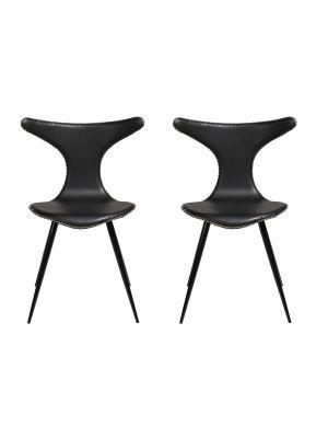 Dan-Form Dolphin Stoel - Set van 2 - Zwart Kunstleer - Zwarte Metalen Poten