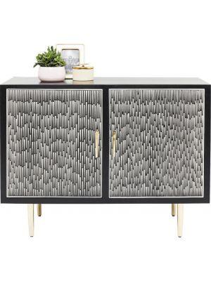 Kare Design Dressoir Piano - Zwart/Wit met Goud