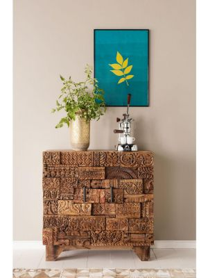 Kare Design Shanti Surprise Puzzle 2-Deurs Commode Kast Nature - Mangohout