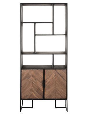 24Designs Criss Cross Boekenkast - B80 x D40 x H185 cm – Zwart/Bruin