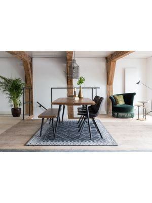 Dutchbone Alagon Eetbank - L140xB40xH45 cm - Walnoot - Zwart Metalen Poten