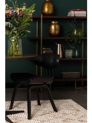 Dutchbone Blackwood Stoel - Zwart Kunstleer met Zwart Hout