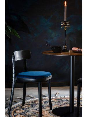 Dutchbone Brandon Stoel - Set van 2 - Donkerblauw Fluweel - Zwart Houten Frame en Poten