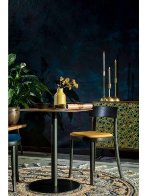Dutchbone Brandon Stoel - Set van 2 - Okergeel Fluweel - Zwart Houten Frame en Poten