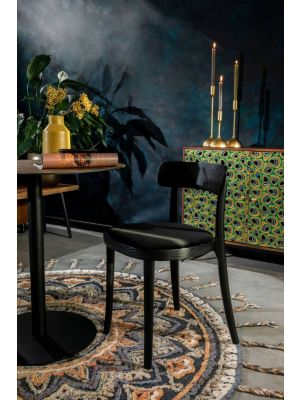 Dutchbone Brandon Stoel - Set van 2 - Zwart Fluweel - Zwart Houten Frame en Poten