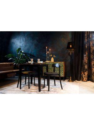 Dutchbone Brandon Stoel - Set van 2 - Roze Fluweel - Zwart Houten Frame en Poten