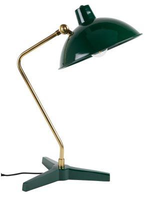 Dutchbone Devi Tafellamp - B28xD36xH52 cm - Groen met Messing